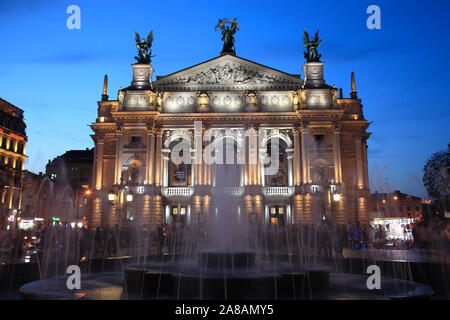 Opera house in the evening, Svobody Prospekt, Lviv, Ukraine