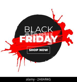 Black Friday Sale Vector Banner with Ink Brush Paint Circle and Black Splashes Isolated on White Background. Label Shop Design with Shop Now Outline Button - Stock Photo