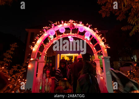Oct 31, 2019 Palo Alto / CA / USA - Halloween in one of the Silicon Valley's upscale neighborhoods; - Stock Photo