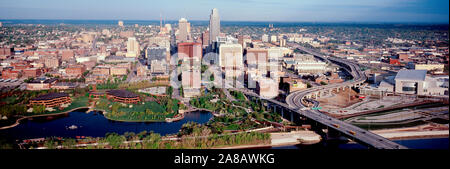 City downtown and elevated highway, Omaha, Nebraska, USA - Stock Photo