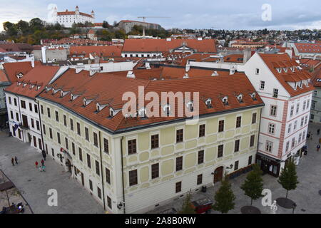 Authentic buildings, cathedrals, restaurants, coffee, souvenir shops, cobble streets in the town centre. Elevated view of the European spa capital. - Stock Photo
