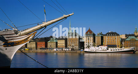 Buildings at the waterfront, Gamla Stan, Stockholm, Sweden - Stock Photo