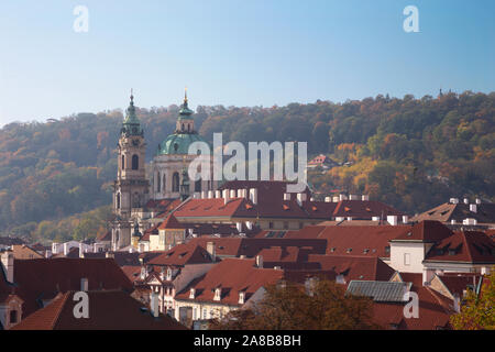 Prague - The Mala Strana and St. Nicholas church. - Stock Photo