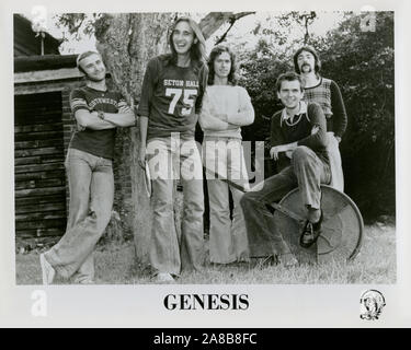 A group portrait publicity still for the progressive rock band Genesis with Peter Gabriel in the 1970s. - Stock Photo