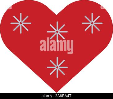happy merry christmas heart with snowflakes icon - Stock Photo