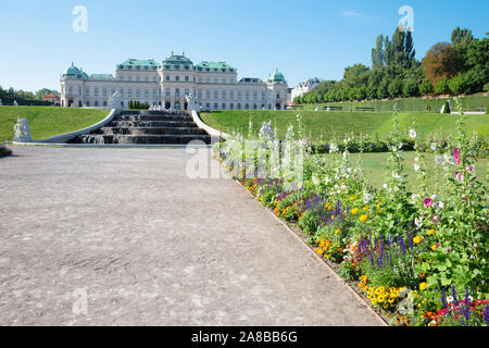 VIENNA, AUSTRIA - JULY 30, 2014: The fountain and garden of Belvedere palace in morning. - Stock Photo