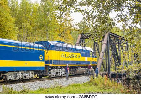 Alaska Railroad Hurricane Turn passenger train, one of the last flag-stop trains and rail service in the United States, Matanuska-Susitna, Alaska, USA - Stock Photo