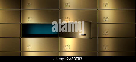 Safety deposit boxes in a wall - Stock Photo