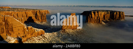 Canyons covered with fog, Independence Monument, Colorado National Monument, Mesa County, Colorado, USA - Stock Photo