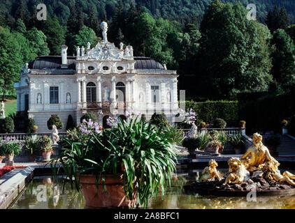 Linderhof Palace isSchloss, Castle, southwest Bavaria near Ettal Abbey, Germany - Stock Photo