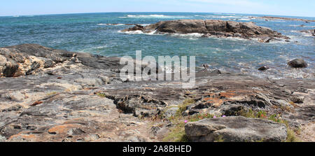A few kilometers from Cape Leeuwin, Western Australia, where the Indian and Southern Oceans meet this scenic view is seen from the Skippy Rock lookout. - Stock Photo