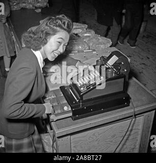 Tule Lake Relocation Center, Newell, California. Margaret Ito, Cashier 1/29/1943 - Stock Photo