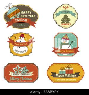 Cute Christmas labels collection isolated on white background - Stock Photo