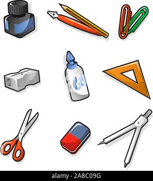 School elements Ink Pen Clip Sharpener Glue Set-square Scissors Rubber and Compass. Vector illustration cartoon.