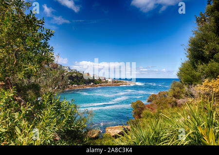 Bondi to Coogee Walk close to Gordons Bay. Famous hiking path in New South Wales, Sydney, Australia. - Stock Photo