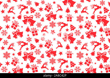 Christmas seamless pattern with Christmas red elements - Stock Photo