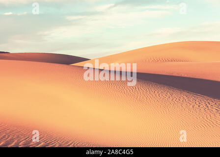 Unspoiled sand dunes in the remote desert - Stock Photo