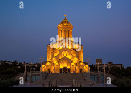 Holy Trinity Cathedral of Tbilisi (Sameba) in the evening - the main cathedral of the Georgian Orthodox Church. Georgia. Religious. - Stock Photo