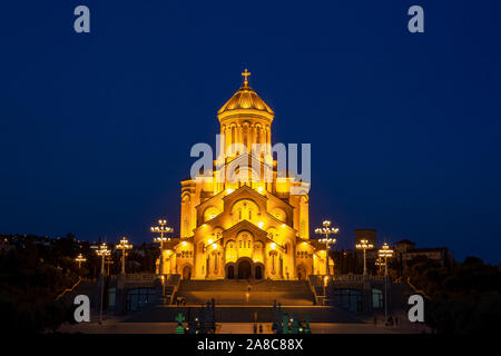 Night view of Holy Trinity Cathedral of Tbilisi (Sameba) - the main cathedral of the Georgian Orthodox Church. Georgia. Religious. - Stock Photo
