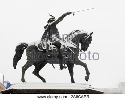 ZAGREB, CROATIA - FEBRUARY 2015 Statue of Ban Josip Jelacic in Snow Storm in Zagreb 7992 - Stock Photo