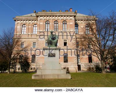 ZAGREB, CROATIA - FEBRUARY 2015 Statue of Josip Juraj Strossmayer in front of the Croatian Academy of Science and Arts 8045 - Stock Photo