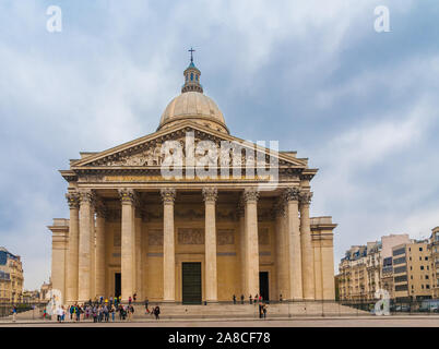 Nice full view of the famous Panthéon mausoleum in Paris with the beautiful façade, featuring Corinthian columns and a sculptural pediment, surmounted... - Stock Photo