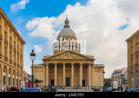 Great front view of the famous Panthéon mausoleum with the beautiful pediment, Corinthian columns and the dome on a sunny day in the Latin Quarter in... - Stock Photo