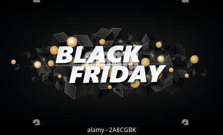 Black Friday Sale Poster or banner with boxes . Vector illustration EPS10 - Stock Photo