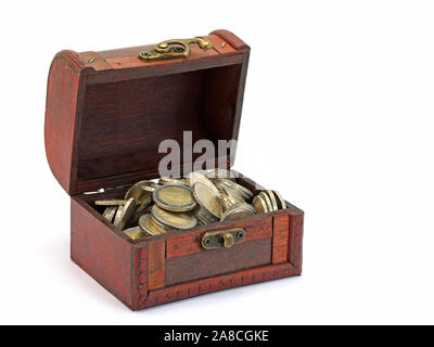 Wooden box with coins in front of white background - Stock Photo