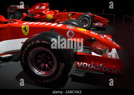 MUGELLO, IT, 24 October 2019: Detail of Modern Era Ferrari F1 ex Michael Schumacher on display at Mugello Circuit in italy - Stock Photo