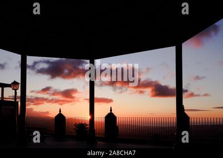 Dawn viewed from the Balcon de la Axarquia in Comares,  Andalucia, Costa del Sol, Spain, Europe - Stock Photo
