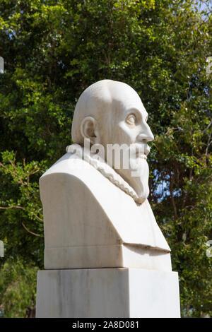 Heraklion, Crete, Greece. Bust of the Cretan artist Dominikos Theotokopoulos, better known as El Greco. - Stock Photo