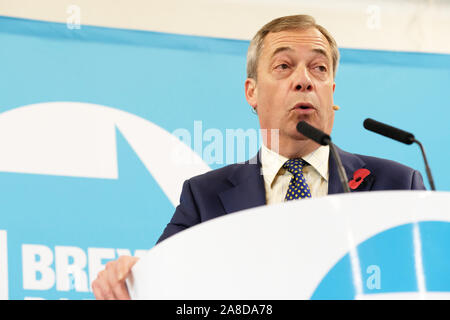 Little Mill, Pontypool, Monmouthshire, Wales - Friday 8th November 2019 - Brexit Party leader Nigel Farage addresses an audience in the south Wales town of Pontypool a strong Labour voting area. Photo Steven May / Alamy Live News - Stock Photo