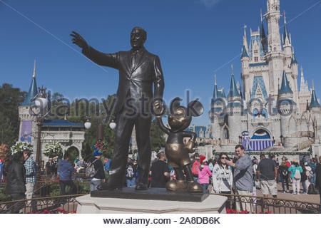Different views of Walt Disney Resort in Orlando. The amusement park hosts more tha 15 million people each year - Stock Photo