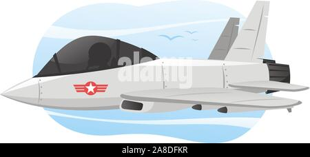 Vector Illustration Cartoon illustration of a combat airplane with Pilot, with star shape logo. - Stock Photo