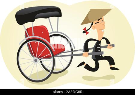 Pulled rickshaw illustration - Stock Photo