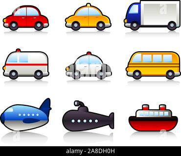 Transport means: with car, taxi, truck, lorry, bus, police car, ambulance, school bus, submarine, airplane, ship. Vector illustration cartoon. - Stock Photo