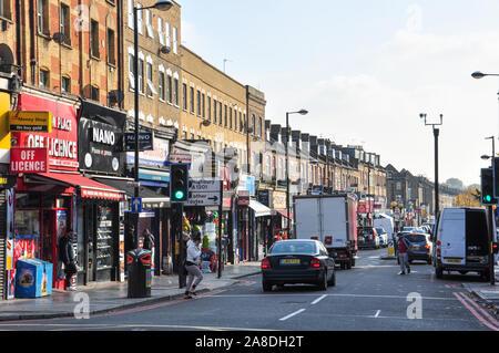 Blackstock Road, Finsbury Park, London, England, UK - Stock Photo