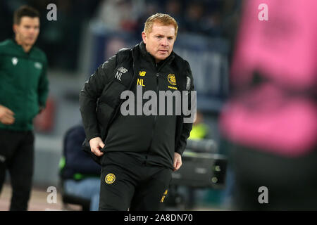 Rome, Italy. 07th Nov, 2019. coach Neil Lennon (Celtic) during the match between SS Lazio and Celtic FC for the 4th round of UEFA Europa League at Stadio Olimpico on November 7, 2019 in Rome, Italy. Celtic beat Lazio by 2-1 in the 4th round of UEFA Europa League (Photo by Giuseppe Fama/Pacific Press) Credit: Pacific Press Agency/Alamy Live News - Stock Photo