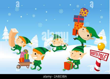 Santa´s elves working at the north pole - Stock Photo