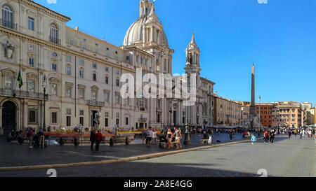 Lazio, Rome / Italy - September 22 2017: Piazza Navona Square view - Stock Photo