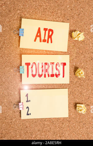 Handwriting text writing Air Tourist. Conceptual photo process of going from place to place by any flying object Vertical empty sticker reminder memo - Stock Photo