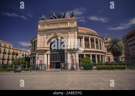Politeama Theater in Palermo - Stock Photo