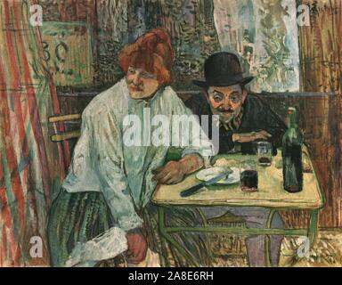 "'At the Café La Mie', c1891, (1952). Man and woman drinking at a table, based on a staged photograph of Lautrec's friend Maurice Guibert. Painting in the Museum of Fine Arts, Boston, USA. From ""Henri De Toulouse-Lautrec"" by Douglas Cooper. [Thames and Hudson, London, 1952] - Stock Photo"