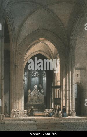 """Chapel of Notre Dame of the Immaculate Conception, Nantes, France, late 19th century. Interior view of the church which was dates from 1470. It was originally known as the Chapel of St Anthony of Padua, and then as the Chapelle des Minimes. From """"Nantes Et La Loire-Inférieure"""", (""""La Ville de Nantes et la Loire-Inférieure"""", 1898?) - Stock Photo"""