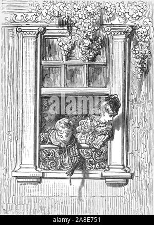 """'A Balcony Scene', 1872. Children lean out of an ornate balcony window. From, """"LONDON. A Pilgrimage"""" by Gustave Dore and Blanchard Jerrold. [Grant and Co., 72-78, Turnmill Street, E.C., 1872]. - Stock Photo"""