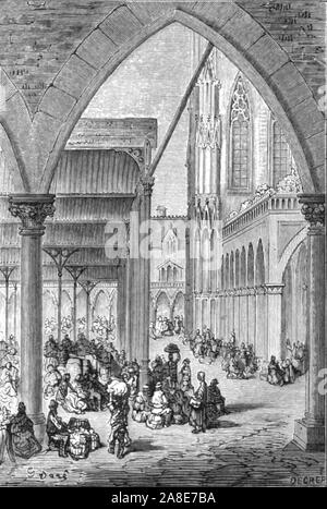 """'Columbia Market', 1872. Columbia Market in Bethnal Green was built by the philanthropist, Angela Burdett-Coutts at St. Leonard's, Shoreditch.  From, """"LONDON. A Pilgrimage"""" by Gustave Dore and Blanchard Jerrold. [Grant and Co., 72-78, Turnmill Street, E.C., 1872]. - Stock Photo"""