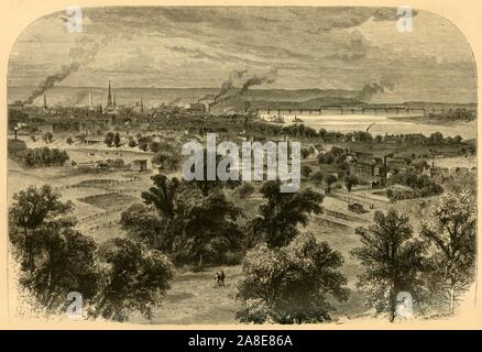 """'Louisville, from the Blind Asylum', 1874. The city of Louisville on the Ohio River, Kentucky, USA. 'Louisville...is a large, bright city, the pride of Kentucky. It was first settled by Virginians in 1773, and remained for some time under the protection of the mother-State; even now, to have been born in Virginia is a Louisville patent of nobility. The city is built on a sloping plane seventy feet above low-water mark, with broad streets lined with stately stone warehouses on and near the river, and beautiful residences farther back'. From """"Picturesque America; or, The Land We Live In, A - Stock Photo"""