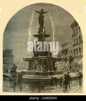 """'The Tyler-Davidson Fountain', 1874. Fountain also known as 'The Genius of Water', cast by Ferdinand von Miller in 1867, Cincinatti, Ohio, USA. 'In the centre of the city is...one of the most beautiful fountains in the world. The figures are bronze, cast at Munich, Bavaria, at a cost of one hundred thousand dollars. The fountain is a memorial, presented to the city by one of its millionnaires, in memory of a relative. It bears the inscription, """"To the People of Cincinnati""""; and the people are constantly drinking from the four drinking-fountains at the corners, or looking up to the gr - Stock Photo"""