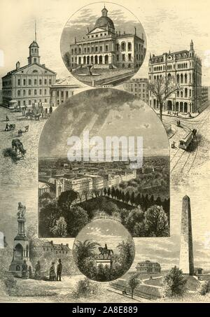 """'Boston Scenes', 1874. 'Faneuil Hall, State House, Masonic Temple, [view] South from State House, Ether Monument, Washington Statue, Bunker Hill Monument', Boston, Massachusetts, USA. From """"Picturesque America; or, The Land We Live In, A Delineation by Pen and Pencil of the Mountains, Rivers, Lakes...with Illustrations on Steel and Wood by Eminent American Artists"""" Vol. II, edited by William Cullen Bryant. [D. Appleton and Company, New York, 1874] - Stock Photo"""